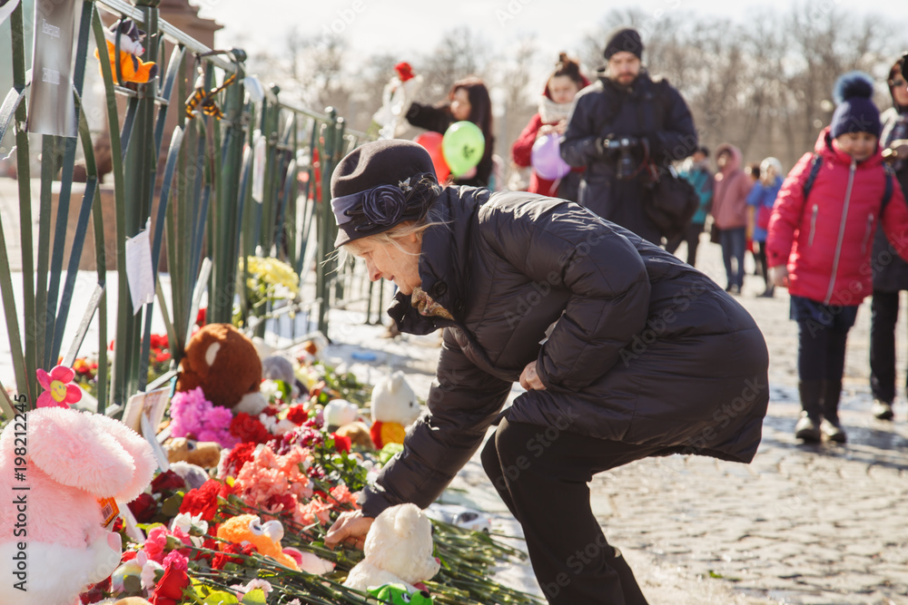 Fototapeta Mourning for the victims of the fire in the city of Kemerovo.