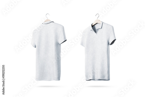 Blank white polo shirt with hanger mockup isolated, front and back ...