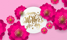 Mothers Day Greeting Card Of Red Flower Pattern And Gold Text On Floral Pink And Red Background For Mother Day Holiday Design