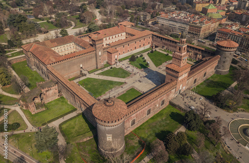 Aerial view of Sforzesco Castle in Milan