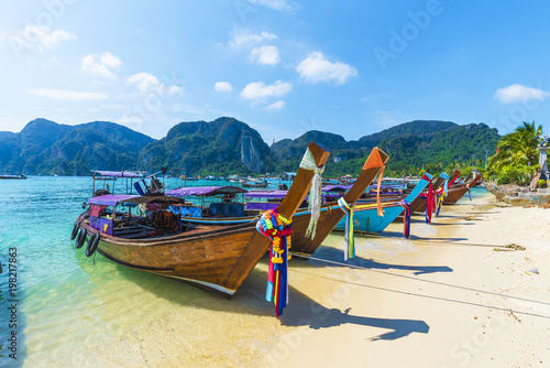 Harbor on Ton Sai Bay,  Phi Phi Islands,  Andaman Sea, Thailand Wallpaper Mural