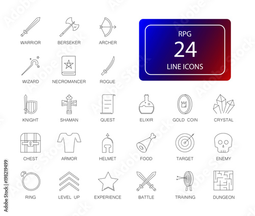 Line icons set. Rpg, fantasy game pack. Vector illustration Canvas Print