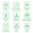 Vector set of design elements, logo design template, icons and badges for natural cosmetics