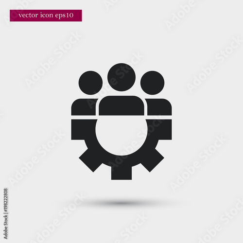 Fototapety, obrazy: Teamwork with gear icon. Simple HR element illustration. Work symbol design from business collection. Can be used in web and mobile.