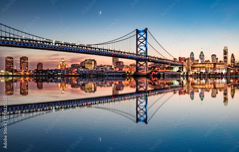 Fototapety, obrazy: Philadelphia Night Skyline Refection