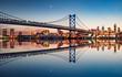 canvas print picture - Philadelphia Night Skyline Refection