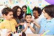 Happy birthday party. Little children on birthday celebrations. Birthday concept.