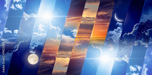 Fototapeta Weather forecast concept, day and night obraz na płótnie