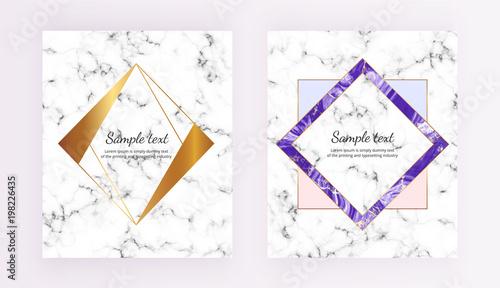 Set Minimalist Placards Polygonal Frames White Purple