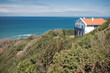 rental house on a cliff by atlantic ocean coastal footpath with scenic panoramic view