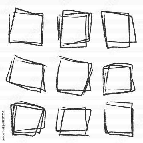 Fototapety, obrazy: Hand drawn tetragon line sketch set.