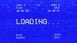 canvas print picture - An old damaged VHS tape tracking a bad signal coming from a double deck, with the text Loading.