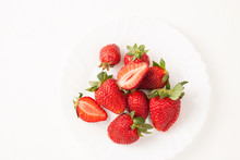 Ripe Red Strawberry On White T...