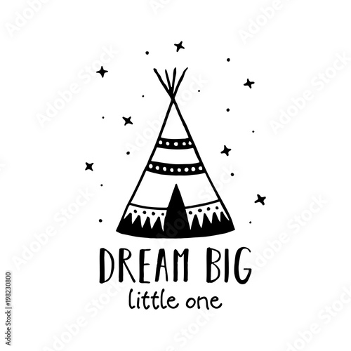Dream big scandinavian style hand drawn poster Wallpaper Mural