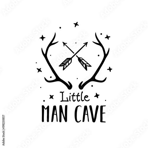 Mały człowiek jaskini skandynawski styl ręcznie rysowane plakat. Ilustracji wektorowych.