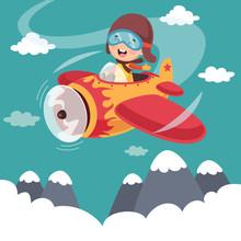 Vector Illustration Of Kid Operating Plane