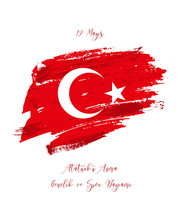 19th May Commemoration Of Ataturk, Youth And Sports Day. Vector Turkish Holiday Greeting Card.