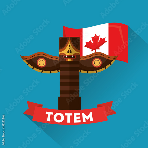 Photo  ancient totem canadian traditional culture folklore vector illustration