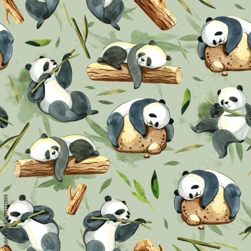akwarela-bezszwowe-wzor-roznych-panda-i-lisci