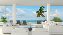 Beach Lounge Living Room Interior With Sea View And Blue Sky, 3D Rendering