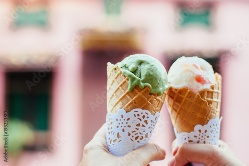 Ice cream over blurred street background