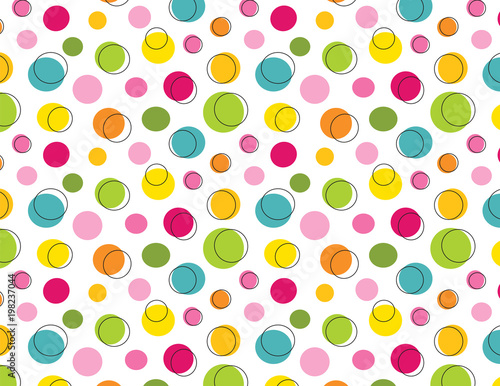 plakat Funky polka dot seamless pattern. EPS file has global colors for easy color changes.