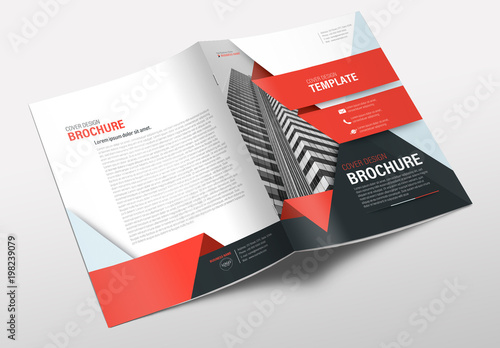 business brochure cover layout with red accents buy this stock