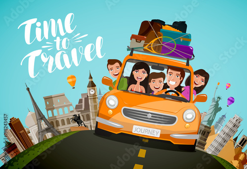 Tuinposter Cartoon cars Journey, travel concept. Happy family rides in car on vacation. Cartoon vector illustration