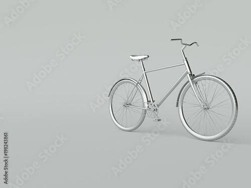 Türaufkleber Fahrrad Ckassic vintage Bike mono color concept on silver color background copy space. 3d render