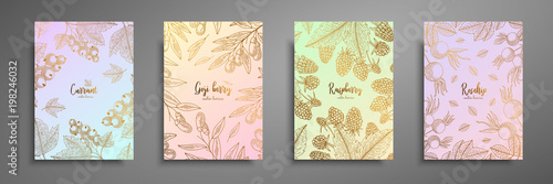 Foto  Gold colorful collection of cards design with berries