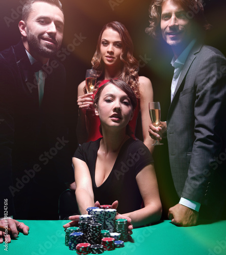 Fotografie, Obraz  Woman doing all-in playing poker