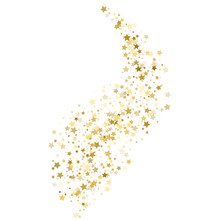 Gold Star Confetti Rain Festive Holiday Background. Vector Golden Paper Foil Stars Falling Down Isolated On White Background.