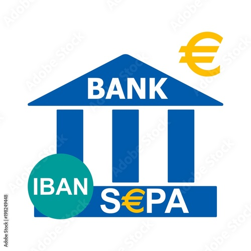 Vector illustration  Bank icon  Bank logo with IBAN and SEPA