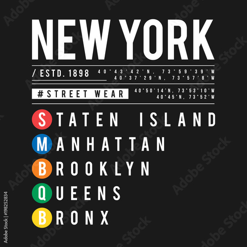 e9f580a2d T-shirt design in the concept of New York City subway. Cool typography with  boroughs of New York for shirt print. T-shirt graphic in urban and street  style