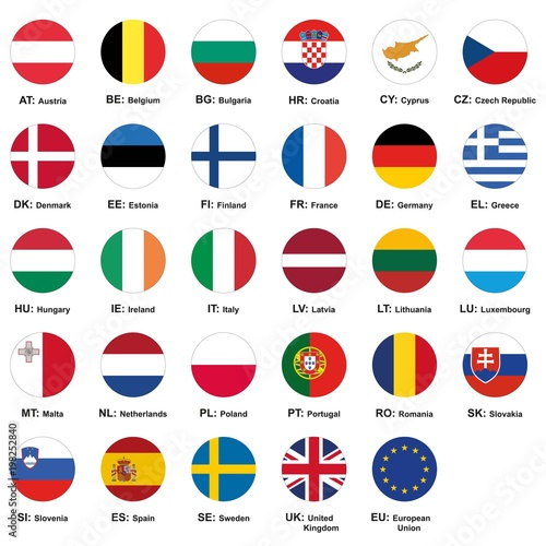 Set Of European Union Flags With Names And Country Abbreviations