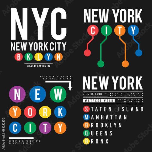 Fototapeta T-shirt design in the concept of New York City subway. Cool typography with boroughs of New York for shirt print. Set of t-shirt graphic in urban and street style obraz