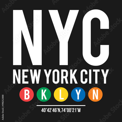 a2f17aae8 T-shirt design in the concept of New York City subway. Cool typography with  borough Brooklyn for shirt print. T-shirt graphic in urban and street style
