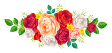 Vector Rose And Peonies Flowers Bouquet Vintage Romantic Decoration On White Background