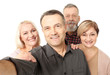 canvas print picture - Group of happy senior people taking selfie on white background