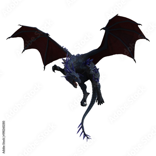 Fotografie, Tablou  Blue crystal dragon isolated on white, 3d render