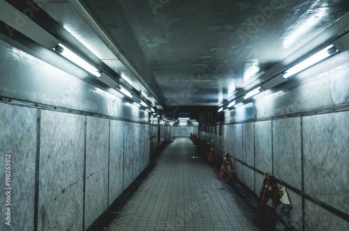 Fotografie, Obraz  怪しい雰囲気漂う夜の地下通路。サーバーパンク風