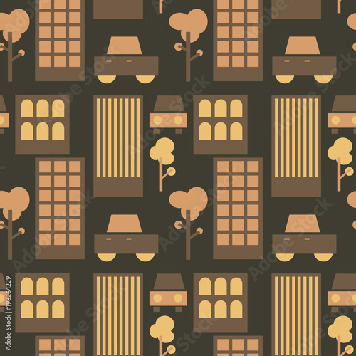 Neghborhood streets seamless pattern. Suitable for screen, print and other media. Wall mural