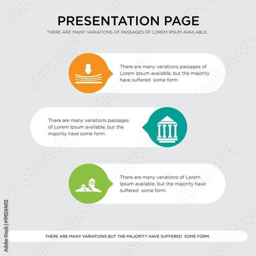 Stampe  earthquake, municipality, elastic presentation design template in orange, green,