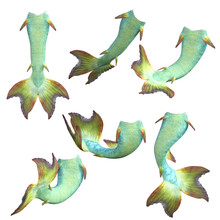 Large Set Of Green Mermaid Tails Isolated On White, 3d Render