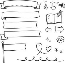 手書きの旗やリボンのイラストセット