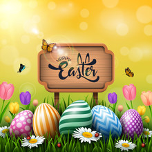 Easter Greeting Card With A Wooden Sign And Colorful Eggs And Flowers In The Grass
