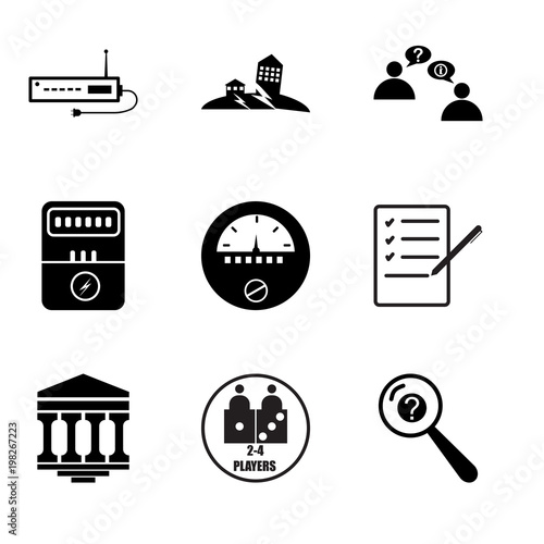 Stampe  Set Of 9 simple editable icons such as inquiry, number of players, bank branch,