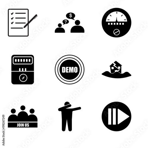 Stampe  Set Of 9 simple editable icons such as next steps, dab, join us, earthquake, dem