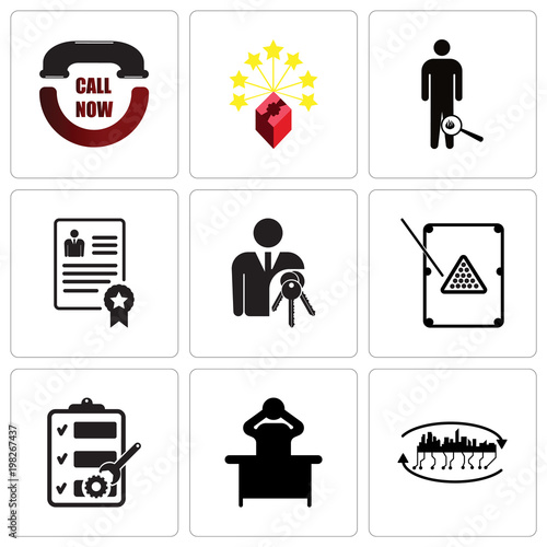 Set Of 9 simple editable icons such as future city, frustration
