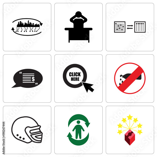 Set Of 9 simple editable icons such as lucky draw, good health